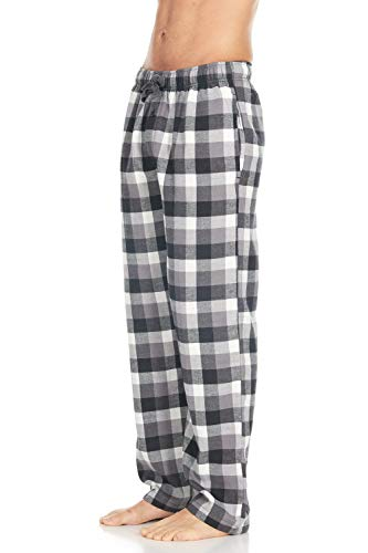 (Men's Cotton Super-Soft Flannel Plaid Pajama Pants/Lounge Bottoms with Pockets, Grey White, Large)