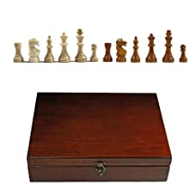 WE Games English Staunton Tournament Chess Pieces in Wooden Box, Weighted with 3.75 Inch King