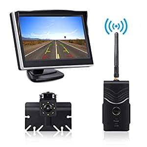 Digital Wireless Backup Camera Kit, TOGUARD 5'' LCD Backup Monitor + IP69 Waterproof 170°Wide View Angle Reverse Rear View License Plate Camera with 8 LEDs, Super Night Vision for Cars/Trucks/ Pickup