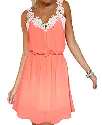 Puro Arancione Coolred Cinturino Punto Pizzo Sexy Abito Con Mini donne In Colore Backless qI7Ir1wZ