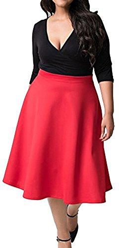 MILEEO - Vestido - Trapecio - Básico - Manga Corta - para Mujer Rojo