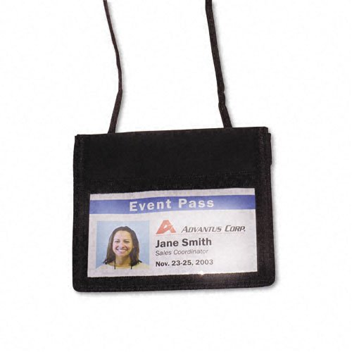 ID Badge Holder w/Convention Neck Pouch, Horizontal, 4w x 2 1/4h, Black, 12/Pack - Convention Neck Pouch