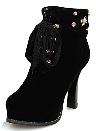 IDIFU Studded Platform Booties Ankle Sexy Up Short Lace High Heels Womens Block Black Boots Eqrgqn