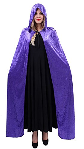 Night Elf Costume (Adult Halloween Hooded Cloak Costumes Women Ghost Death Cape Cosplay Long Robe (Purple-Blue))