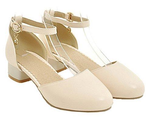 VogueZone009 Women Solid PU Low-Heels Round-Toe Buckle Sandals, CCALO012362 Beige