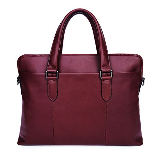 Executive Brief Bag (Burgundy Leather Executive Laptop Briefcase Laptop Attache Cases Business Messenger Bag Handbag Casual Shoulder Portfolio Bag)