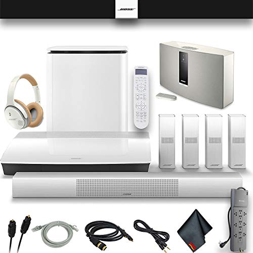 Bose Lifestyle 650 Home Theater System with OmniJewel Speakers (White) and SoundTouch 30 Series III Music System, Optical Cable, HDMI Cables, AUX Cable, PowerStrip Premium Headphones and More.