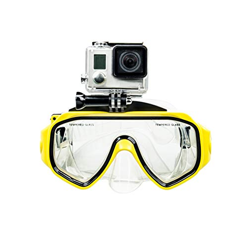 GOHIGH Diving Mask with Detachable Screw Mount for GoPro Hero 7/6/5/4/3+/3, Tempered Glass Swimming Goggles Anti-Fog Lens for Freediving Spearfishing Snorkeling, Yellow (Go Pro Hero 4 Dive Mask)