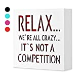 KAUZA Relax We're All Crazy 5,5 x 5,5 in by … - Funny Signs for Home Decor, Wall Plaque, Funny Gifts for Women, Trending Gifts.