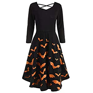 Imysty Womens Halloween Dress Sexy V Neck Printed Flared Party Midi Dress