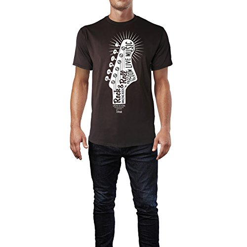 Sinus Art ® Herren T Shirt Rock N Roll Reedom Live Music ( Chocolate ) Crewneck Tee with Frontartwork