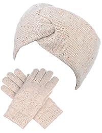 BYOS Winter Solid Toasty Warm Fleece Lined Knit Gloves & Headband 2 PCs Set
