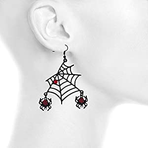 Lux Accessories Halloween Black Spider Web Dangling Red Rhinestone Earrings