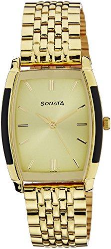 (Sonata Analog Champagne Dial Men's Watch - NF7080YM02)