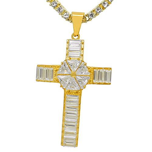 (Stainless Steel Yellow Gold-Tone Iced Out Hip Hop Bling 3D Baguette Stone Star Cross Pendant With 1 Row Stone Tennis Chain 20