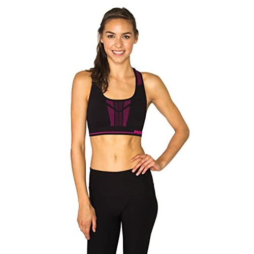 bf0390bbb2 RBX Active Women s Seamless Reversible Live Life Active Seamless Racerback Sports  Bra Black Cosmic Pink