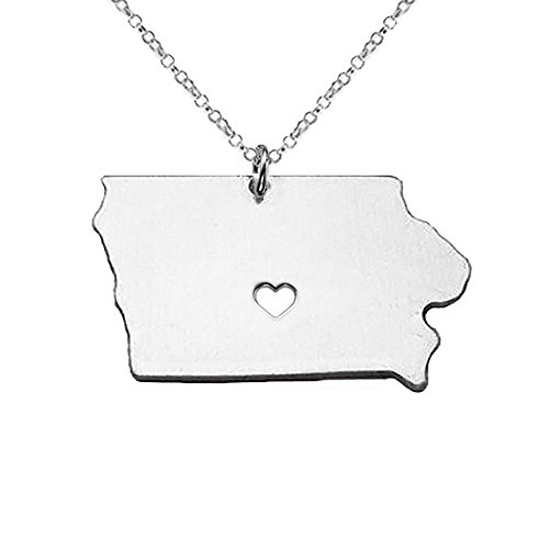 18K Gold Silver Country Map Charm Pendant Iowa state Map Necklace Jewelry (Silver)