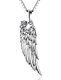 Sterling Silver One Sided Polished Angel Wing Feather Pendant Necklace For Women, 18'' Box Chain