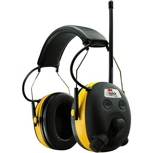 3M WorkTunes Hearing Protector + Bonus SecureFit Eyewear, MP3 Compatible with AM/FM Tuner (90541-SF400BLK)