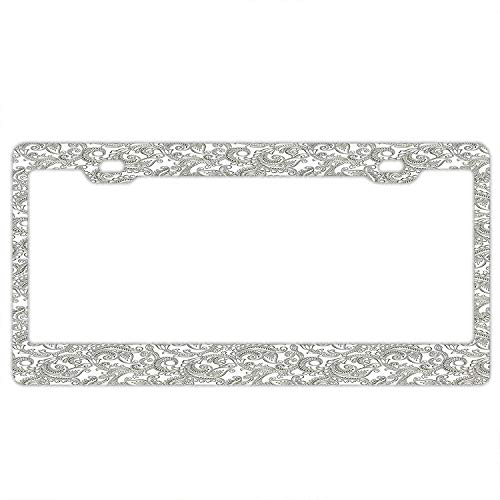 KuyuqudGVg Traditional Indian Damask with Classic Ethnic Effects Artful Ornate Pattern License Plate Frame, Car Tag Frame, US License Plate Frames,License Plate Holder (Uconn Pattern)