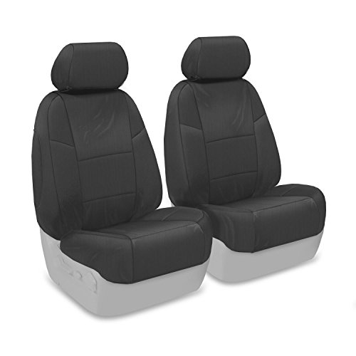 Coverking Custom Fit Front 50/50 Bucket Seat Cover for Select Honda Pilot Models - Ballistic (Charcoal) Removable See Through Headrest