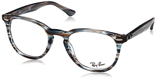 Ray-Ban RX7159 Square Eyeglass Frames, Blue Grey Striped/Demo Lens, 50 ()