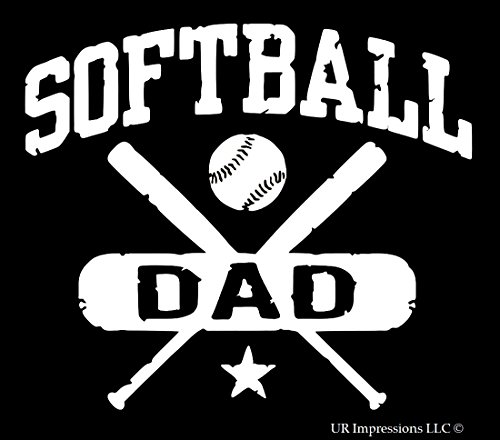 UR Impressions Softball Dad - Weathered Decal Vinyl Sticker Graphics for Cars Trucks SUV Vans Walls Windows Laptop|White|5.5 X 5 inch|URI322