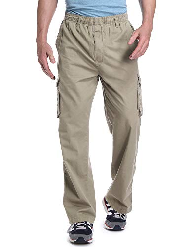 OCHENTA Men's Loose Fit Full Elastic Zipper Fly Multi Pockets Cargo Pants Khaki Tag XL - US - Navy Old Khaki Pants