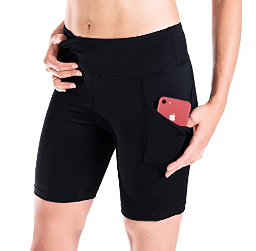 "Yogipace Women's (S 2XL) UV Protection Side Pockets 7"" Compression Shorts Bike Shorts Workout Short Gym Shorts"