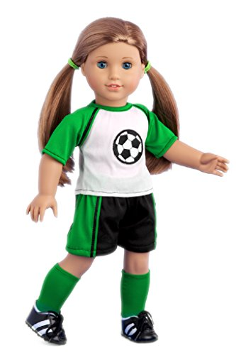 Soccer Girl - 4 piece soccer outfit includes, shirt, shorts, socks and shoes - 18 Inch American Girl Doll Clothes