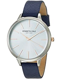 Women's 'Classic' Quartz Stainless Steel and Leather Dress Watch, Color:Blue (Model: KC15056003)