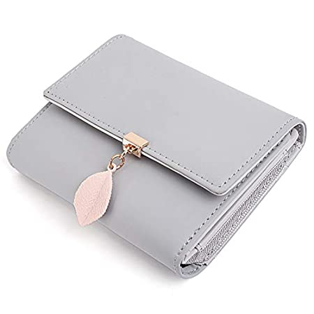 UTO Ladies Card Purse Small Wallets for Women Leaf Pendant 5 Slots 1 Photo Window Zipper Coin Pocket PU Leather Grey New Version 411iI eeOxL