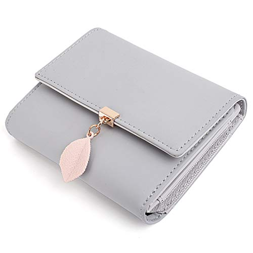 UTO Small Wallet for Women PU Leather Leaf Pendant Card Holder Organizer Zipper Coin Purse A Grey ()