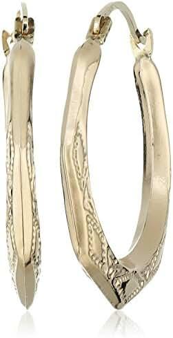 10k Yellow Gold Hexagon Hoop Earrings