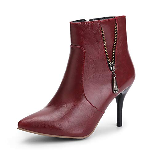 OCHENTA Women's Dressy Pointed Toe Stiletto High Heel Ankle Boots Wine Red Tag 44 - US 11