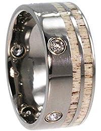 Flush Set 5-Stone Diamond, Deer Antler Inlay, 14K Yellow Gold 10mm Comfort-Fit Titanium Wedding Band