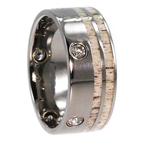 Flush Set 5-Stone Diamond, Deer Antler Inlay, 14K Yellow Gold 10mm Comfort-Fit Titanium Wedding Band, Size 11.5