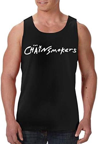 ザ・チェインスモーカーズ The Chainsmokers メンズ フロントプリント袖なしク シャツ 速い乾燥 ジム トレーニング用