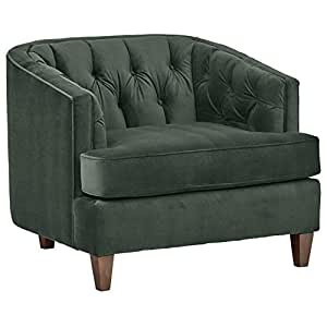 "Stone & Beam Leila Tufted Chair, 44"" W, Hunter Green"