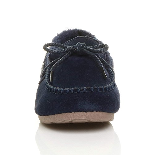 Womens Ladies Faux Sheepskin Fur Flexible Sole Boat Shoes Moccasins Slippers Size Navy eOzJTjhLRQ