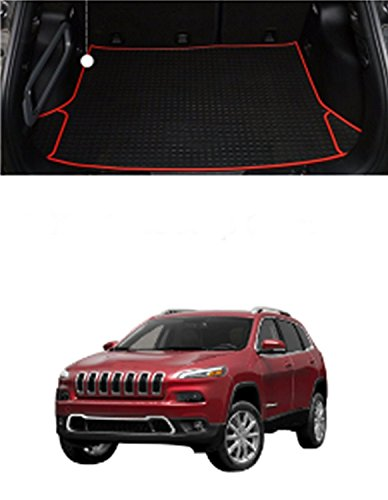 FMtoppeak Red 3D Cargo Trunk Organizer Carpet Rubber Synthetic Leather Tray Slush Floor Liner Mats For 2014-2016 Jeep Cherokee