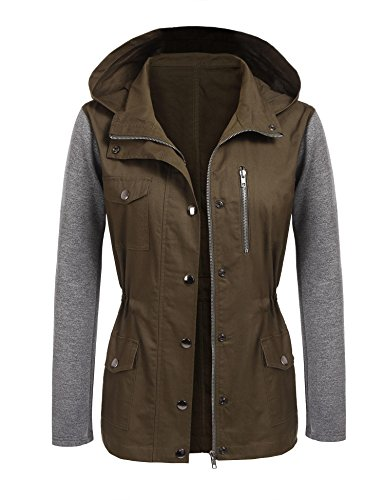 Beyove Womens Spring Jacket Military Anorak Safari Utility Drawstring Hoodie Jacket by Beyove
