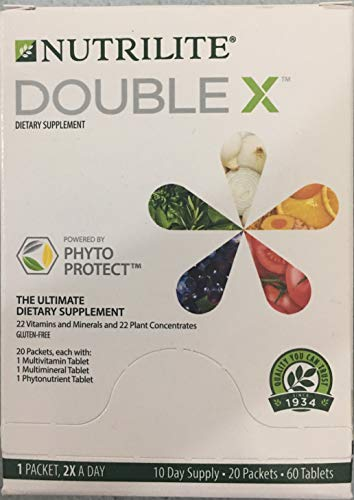 NUTRILITE DOUBLE X Multivitamin/Multimineral/Phytonutrient - 60 Tablets - 10-Day Supply/with Case.