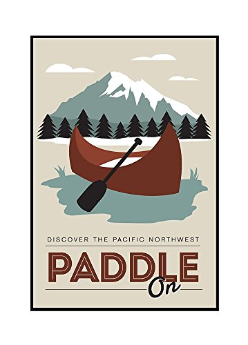 Discover the Pacific Northwest - Paddle On - Canoe - Vector Style (16x24 Framed Gallery Wrapped Stretched Canvas) by Lantern Press