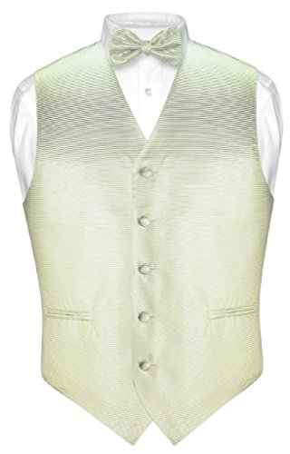 (Vesuvio Napoli Men's Dress Vest & Bowtie Sage Green Woven Bow Tie Horizontal Stripe sz L)