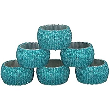 Decorative Napkin Ring for Dining Room Weddings Receptions Golden Napkin Ring for Formal Dinners Artisanal Creations Set of 4 Teal Ceramic Crackle Napkin Rings Themed Parties