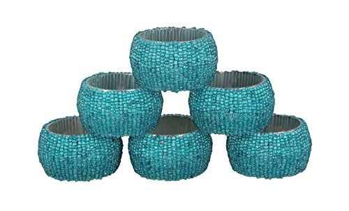 ShalinIndia Handmade Beaded Napkin Rings Set with 6 Turquoise Glass Beaded Napkin Holders - 1.5 Inch in - Glass Turquoise Ring