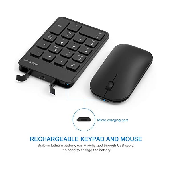 Rechargeable Wireless Number Pad and Mouse Combo, Jelly Comb N026C 2.4GHz Portable Ultra Slim USB Numeric Keypad and…