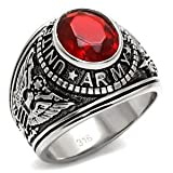 united states army ring - Men's Stainless Steel United States Army Red Oval Glass Stone Ring,Size:11