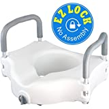 Vaunn Medical Raised Toilet Seat & Commode Riser with Removable Handles and Locking Mechanism for Standard Toilet Seats (not for Elongated Seats)